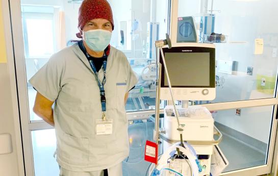 Fort St John Hospital ICU Nurse Mark Minuhin with TB Vets funded ventilator